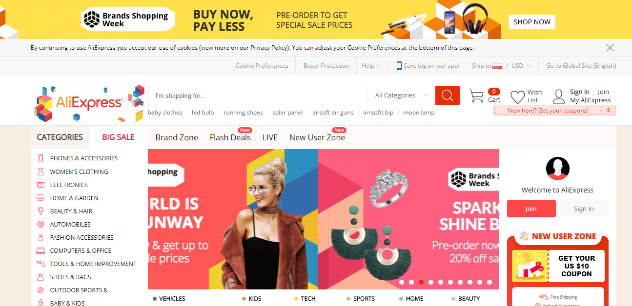 AliExpress Marketplace Homepage