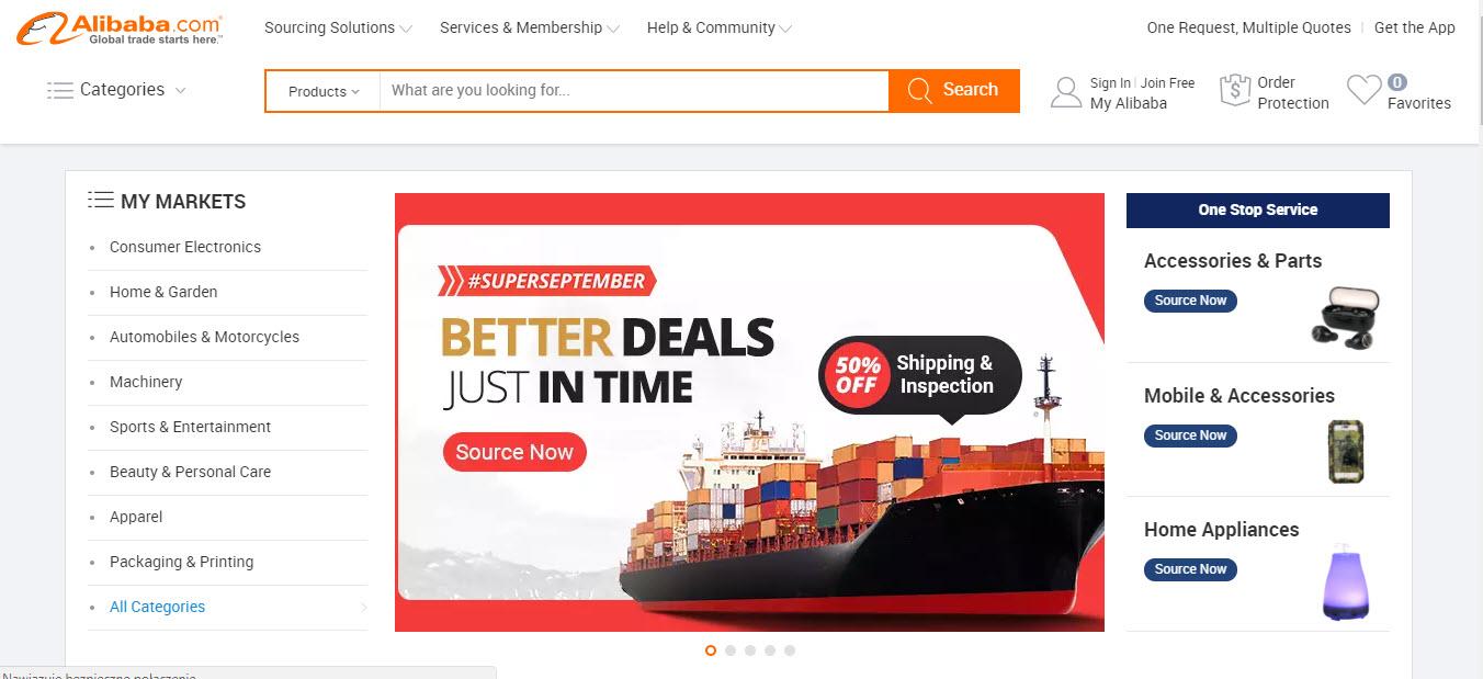 Alibaba Marketplace Homepage