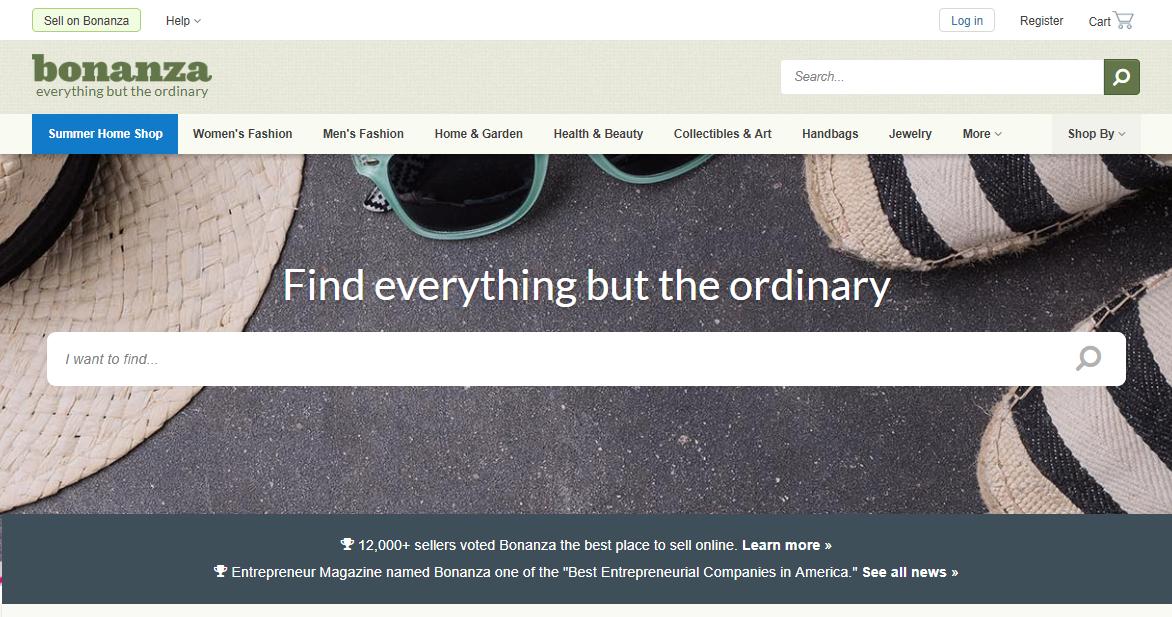 Bonanza.com Marketplace Homepage