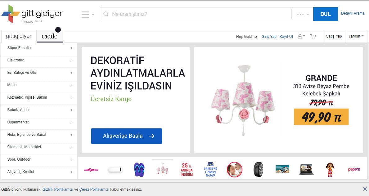 GittiGidiyor Marketplace Homepage
