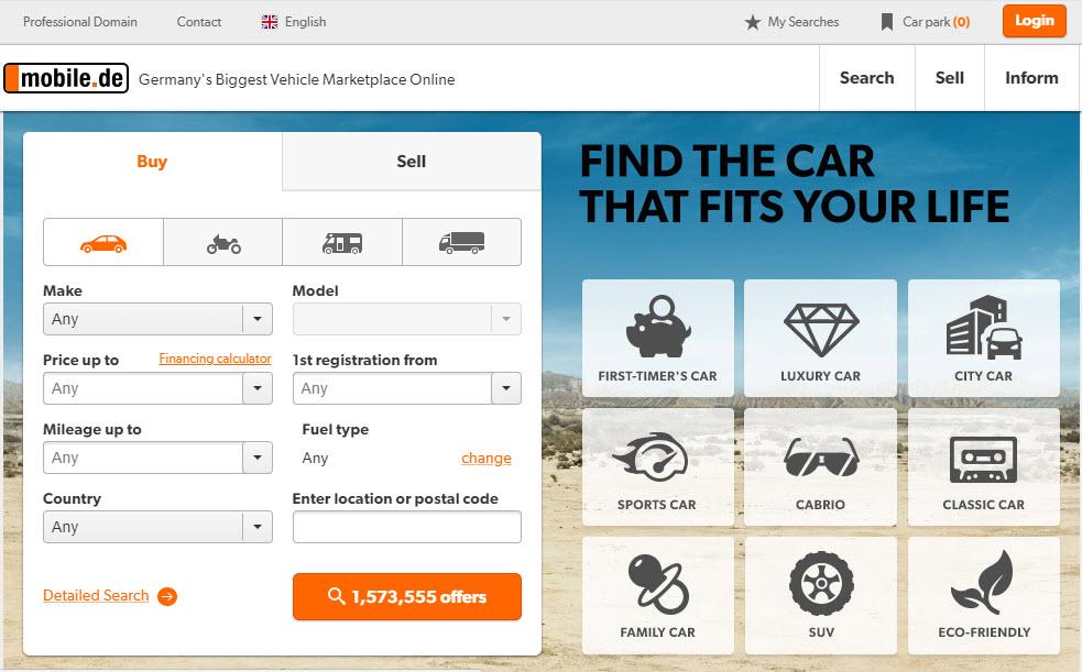 Mobile.de Marketplace Homepage