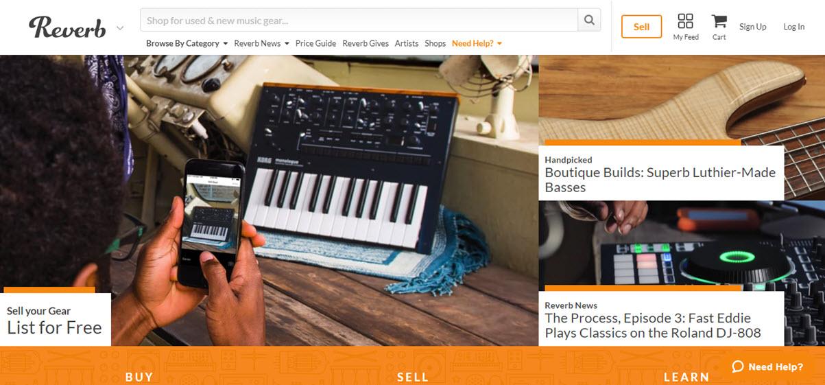 Reverb.com Marketplace Homepage