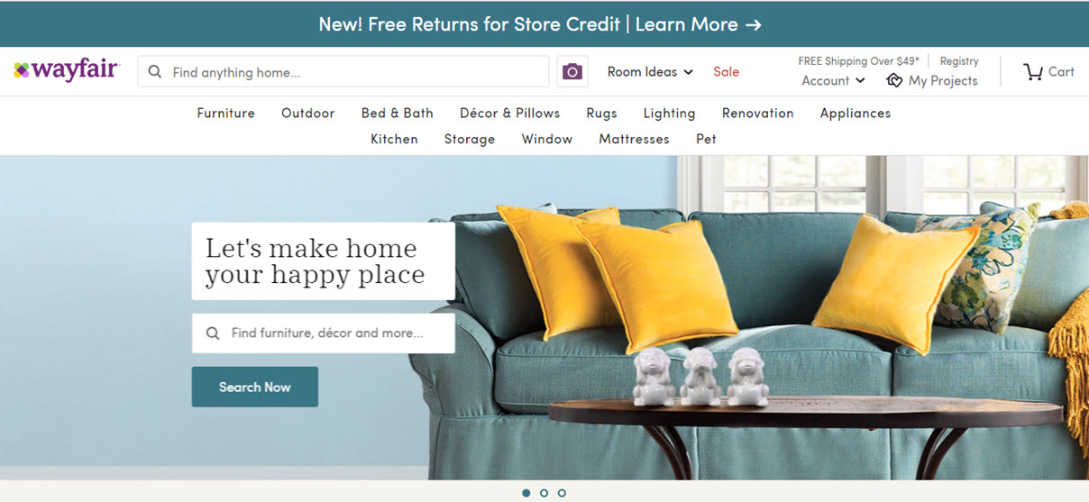 Wayfair.com Marketplace Homepage