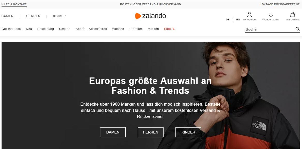 Zalando Marketplace Homepage
